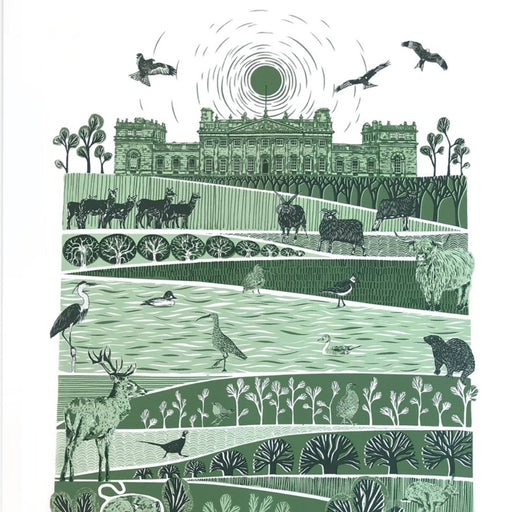 Buy 'Harewood' an animal screen print by Folded Forest. Image shows a white, green and black screen print of a layered landscape with different animals featured in each tier topped by a large grand building flanked with trees.