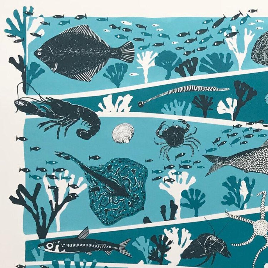 Buy 'Sea' an animal screen print by Folded Forest. Image shows a blue, navy and white screen print of a layered seabed with different animals featured on each tier.