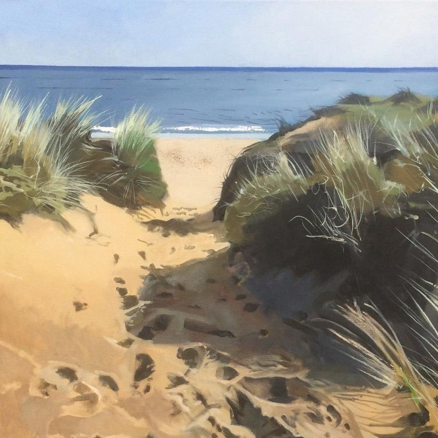 Buy 'Footsteps in the Sand', a coastal landscape by Graham Rider at The Biscuit Factory. Image shows a painting of a beach scene with a channel of footprints between grass-covered sand dunes leading to the sea.