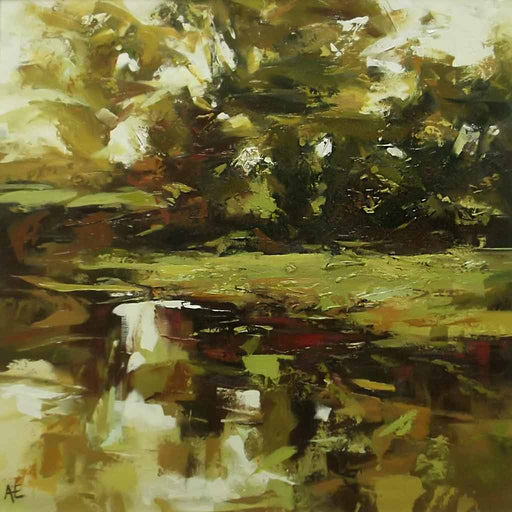 An original landscape painting by Angela Edwards at The Biscuit Factory.