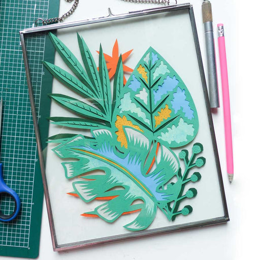 Buy 'Green Tropics' handmade, framed papercut by Lucy Freeman, at The Biscuit Factory.