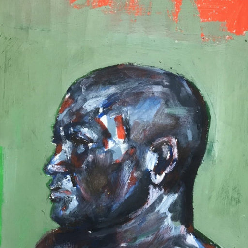 Buy original paintings and drawings by Newcastle-based artist Dan Cimmermann. Image shows a painted portrait of a man in profile made up of black, blue, red and white mark making on a green background with a section of red in the top right hand corner.