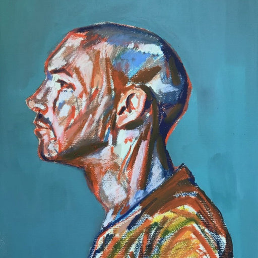 Buy original paintings and drawings by Newcastle-based artist Dan Cimmermann. Image shows a painted portrait of a man in profile with abstract mark makings on a blue background.