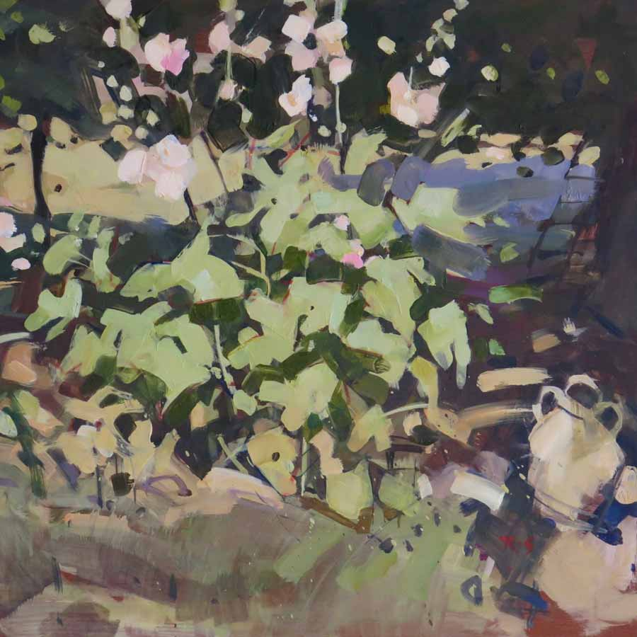 Buy 'Hollyhocks, Ladder', an original painting by Richard Sowman at The Biscuit Factory.