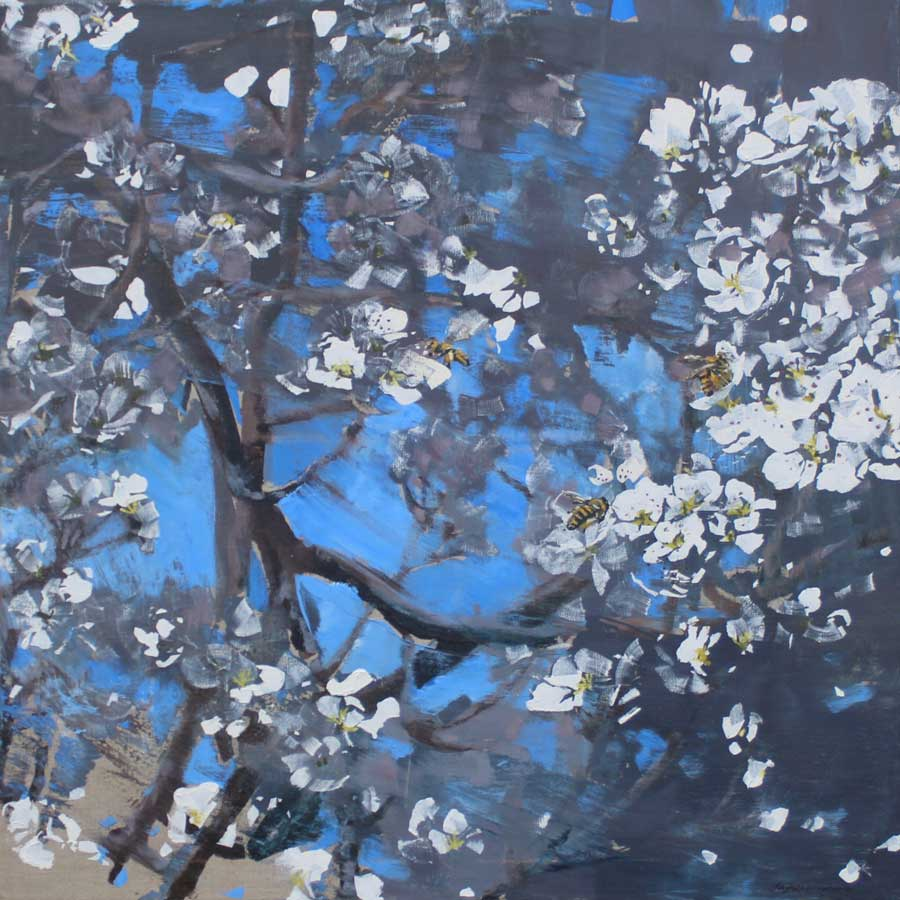 Buy 'Honeybees, Blossom', an original painting by James Fotheringhame at The Biscuit Factory, Newcastle Upon Tyne.