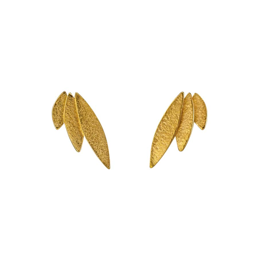 Buy 'Icarus Studs (gold)' by jewellery designer Cara Tonkin at The Biscuit Factory, Newcastle Upon Tyne.