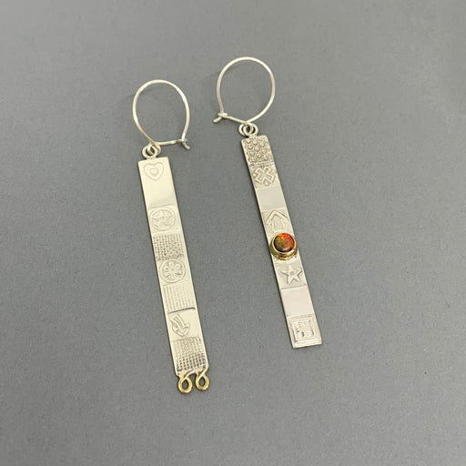 Buy 'Extra Long Asymmetrical Earrings' handmade jewellery by John and Dawn Field at The Biscuit Factory