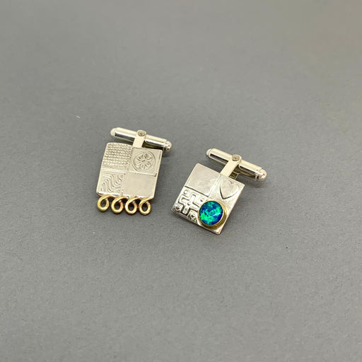 Buy 'Cufflinks (Opal Triplet no.9)' handmade jewellery by John and Dawn Field at The Biscuit Factory