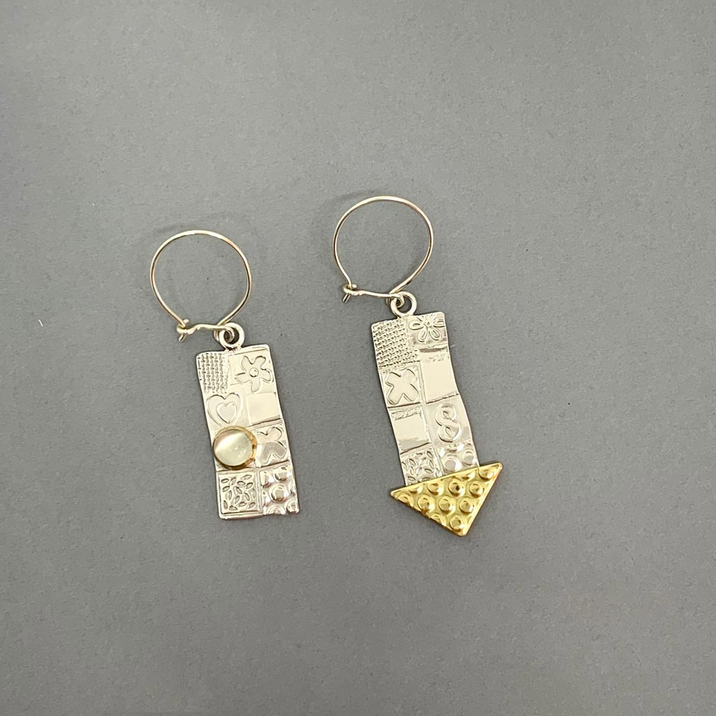 Buy 'Large Earrings (White Moonstone)' handmade jewellery by John and Dawn Field at The Biscuit Factory