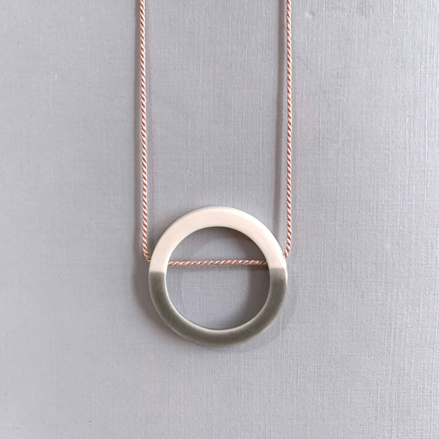 Buy 'Small Hoop Pendant', handmade porcelain jewellery by Elisabeth Barry at The Biscuit Factory, Newcastle upon Tyne
