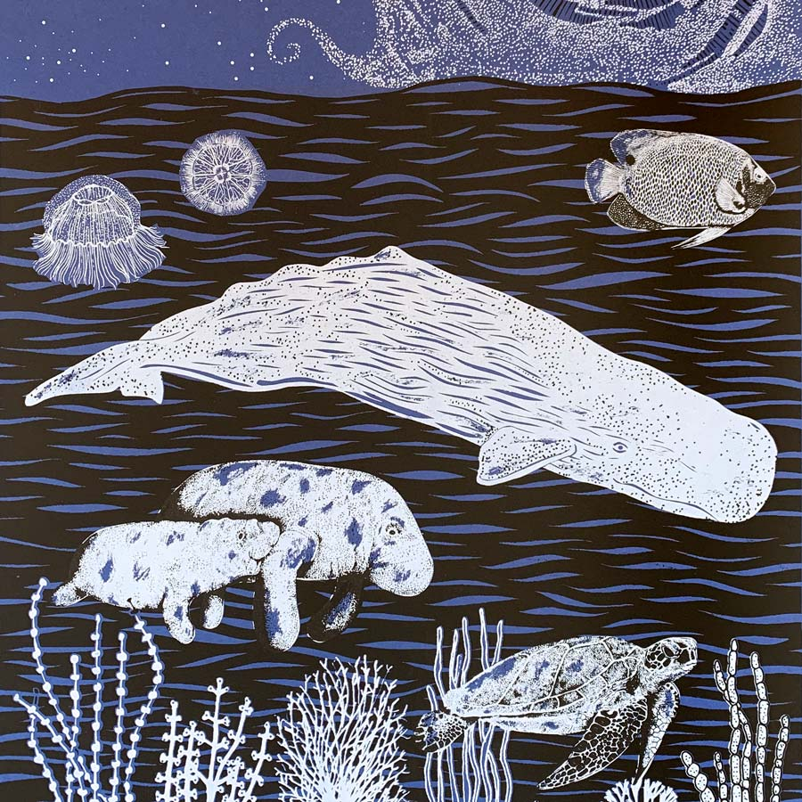 Buy 'Nighttime Sea', an original handmade print by Folded Forest at The Biscuit Factory.