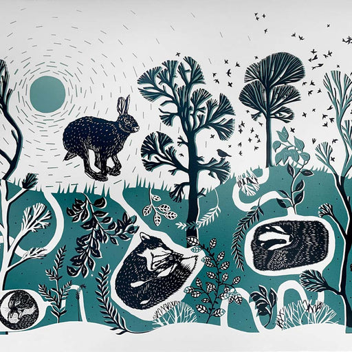 Buy 'Leaping Hare' a landscape animal print by Folded Forest. Image shows a teal, white and black screen print featuring a stylised landscape with a hare, a badger and a fox.