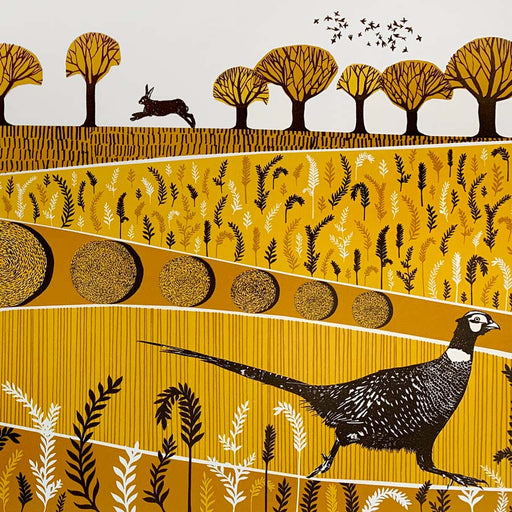 Buy 'Pheasant' a landscape animal print by Folded Forest. Image shows a screenprint in yellow, orange and brown featuring patterned fields and trees with a pheasant in the foreground and a hare in the background.