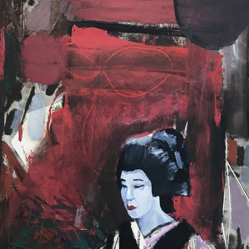 Buy original paintings and drawings by Newcastle-based artist Dan Cimmermann. Image shows a painted portrait of a woman in a traditional Japanese outfit and makeup at the bottom right hand corner of the image. The background is abstract marks of red, white, green and black.