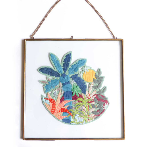 Buy 'Jungle Sunrise' handmade, framed textiles by Lucy Freeman, at The Biscuit Factory.