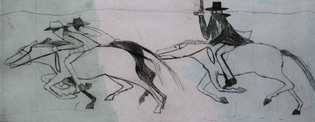 Buy 'Kenny' a large mixed media print by Kate Boxer. Image shows a large sketched drypoint of cowboys galloping from the right side of the paper to the left in black on a grey background.