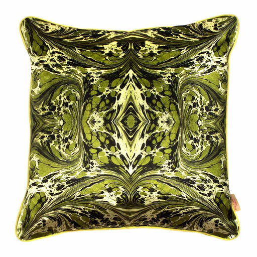 Buy 'Khaki Fantasy Kaleidoscope' an original printed cushion by textile artist Susi Bellamy, at The Biscuit Factory.