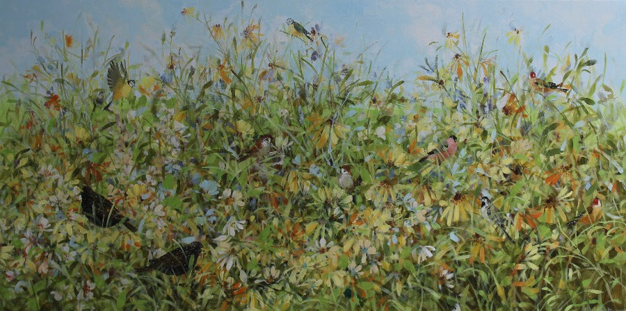 Buy 'Late Summer Rubeckias' a large scale floral landscape painting by Fletcher Prentice. Image shows a landscape painting of a multicoloured wildflower meadow against a blue sky background. Amongst the flowers are various types of birds.