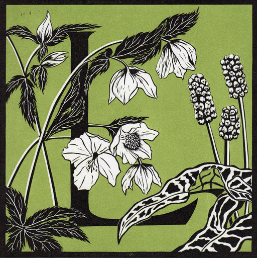 View and buy typography prints by Julie North at The Biscuit Factory. Image shows a green square print featuring a letter L at the centre decorated by white and black leaves and flowers