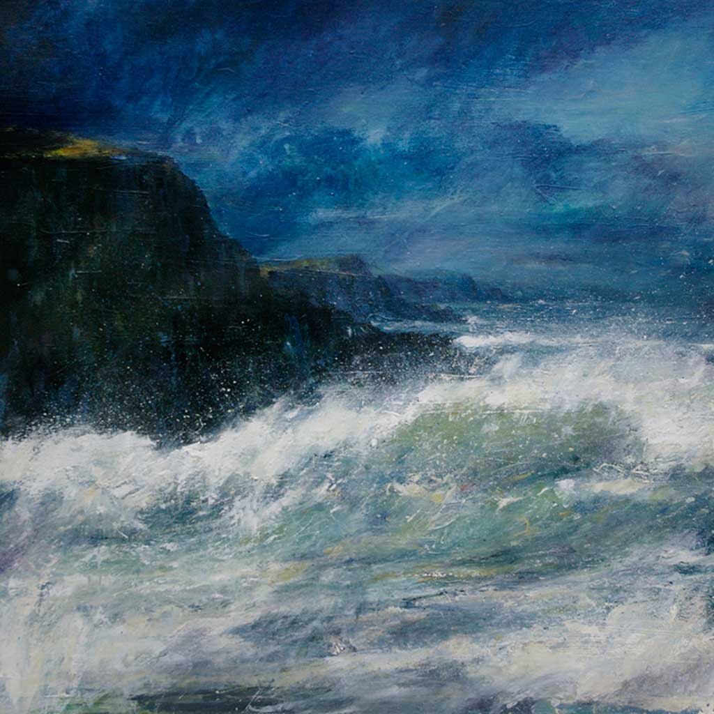 Buy 'Lively Sea Farr Bay' an original oil painting by Jim Wright at The Biscuit Factory