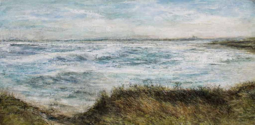 Buy 'Low Newton Beach looking towards Dunstanburgh Castle, Northumberland' a panoramic seascape by Sue Lawson. Image shows a landscape painting of a view across the sea with a grassy knoll cliff in the foreground and small silhouetted castle in the background.