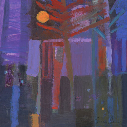Buy 'Modernist House by Moonlight', original painting by Carol Saunderson at The Biscuit Factory