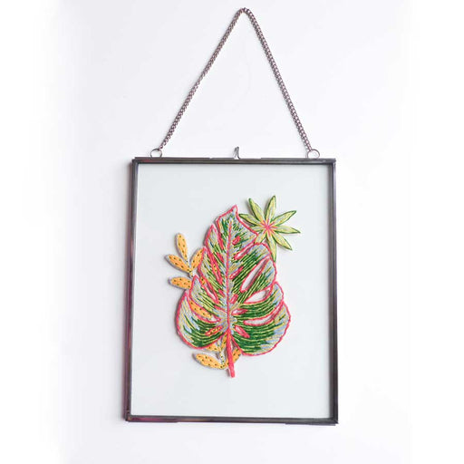 Buy 'Monstera Leaf' handmade, framed textiles by Lucy Freeman, at The Biscuit Factory.