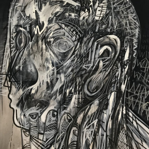 Buy 'Nail-Biter', a large oil and mixed media artwork by Newcastle-based artist Dan Cimmermann. Image shows a greyscale portrait of a face in profile made up of graffiti-style markings.