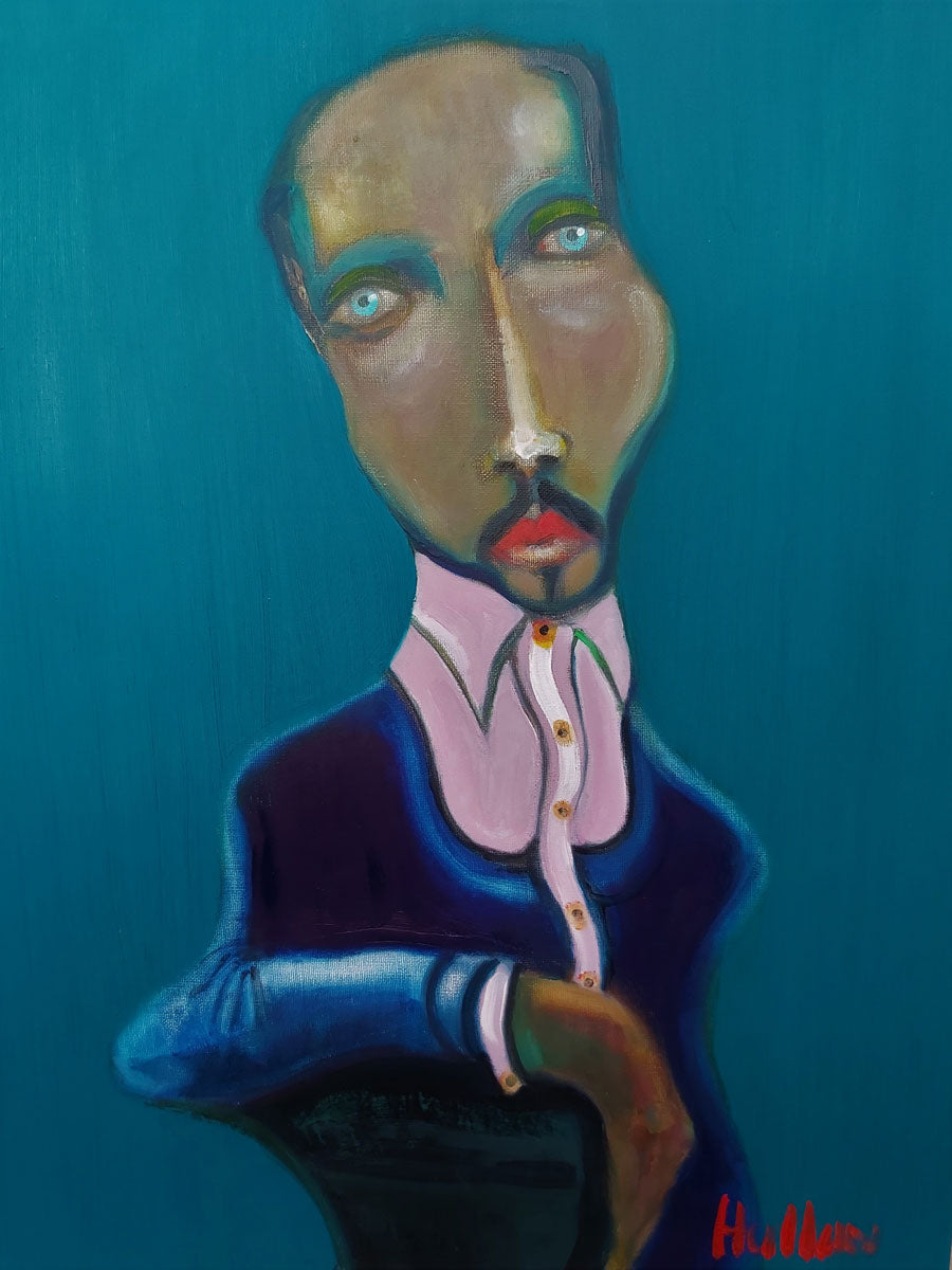 'Nightbird', an original oil painting by Peter Hallam at The Biscuit Factory. Image shows a portrait of a man with a gold cast to his face and a beard, teal lines create shadows - wearing a lavender and navy blue shirt. The background is royal blue