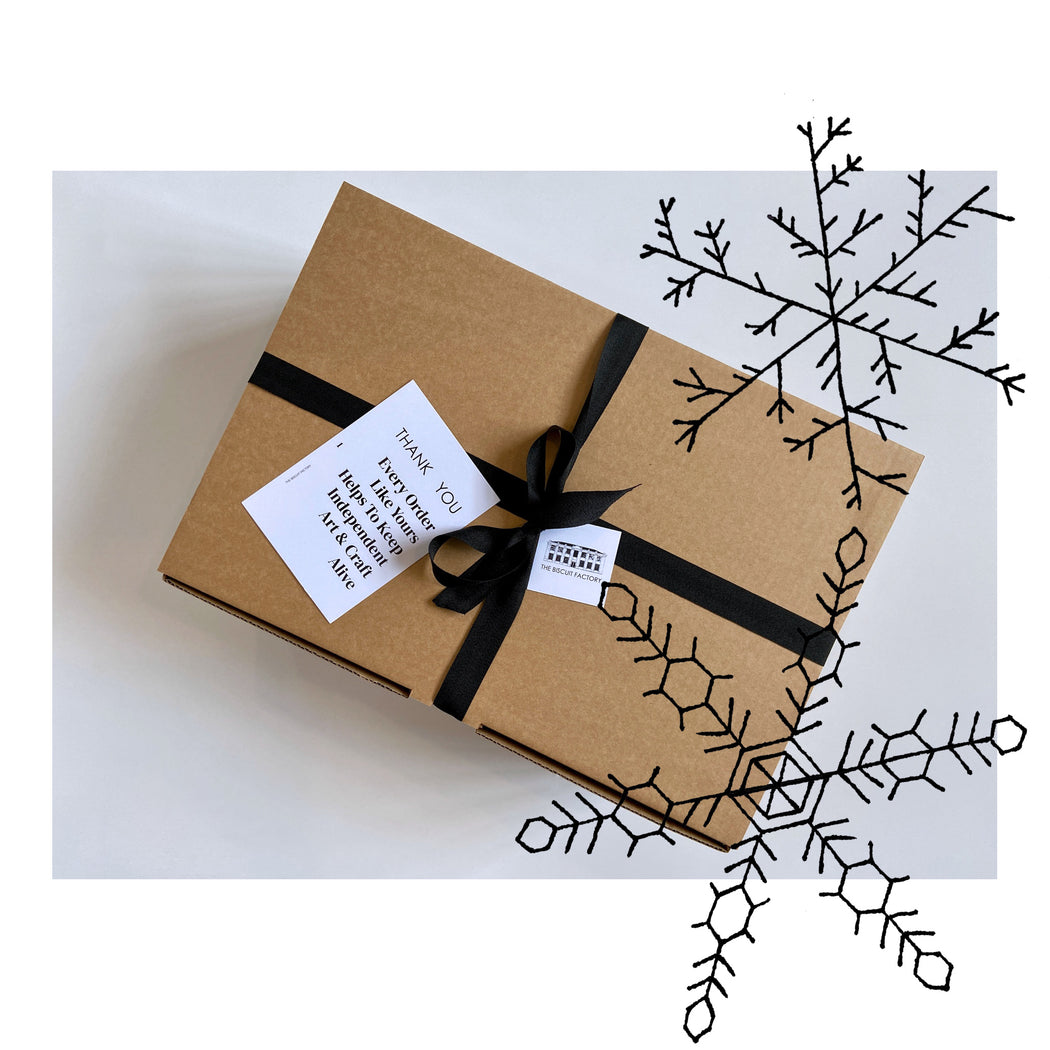 Buy exclusive curated gift boxes at The Biscuit Factory online - sustainable and unique gifts that support local artists. The Noel Maker's Parcel is the perfect present for those who love Christmas and the festive season.