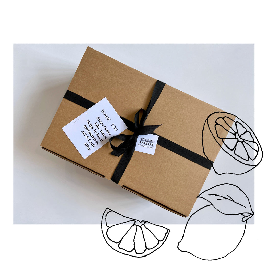 Buy exclusive curated gift boxes at The Biscuit Factory online - sustainable and unique gifts that support local artists. The Nourish Maker's Parcel is the perfect present for foodies and food lovers.