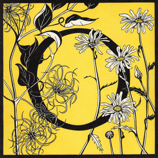 View and buy typography prints by Julie North at The Biscuit Factory. Image shows a yellow square print with a black border featuring a letter O at the centre decorated by black and white flowers