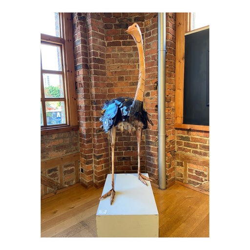 Buy 'Ostrich' a handmade lacquered steel sculpture by Peter Sales.  Image shows a large layered steel sculpture of an ostrich coloured brown around the body of feathers and peach elsewhere. The sculpture sits on a white plinth in front of a brick wall with a silver pipe running up one side of the sculpture and a multi-paned window to the left.