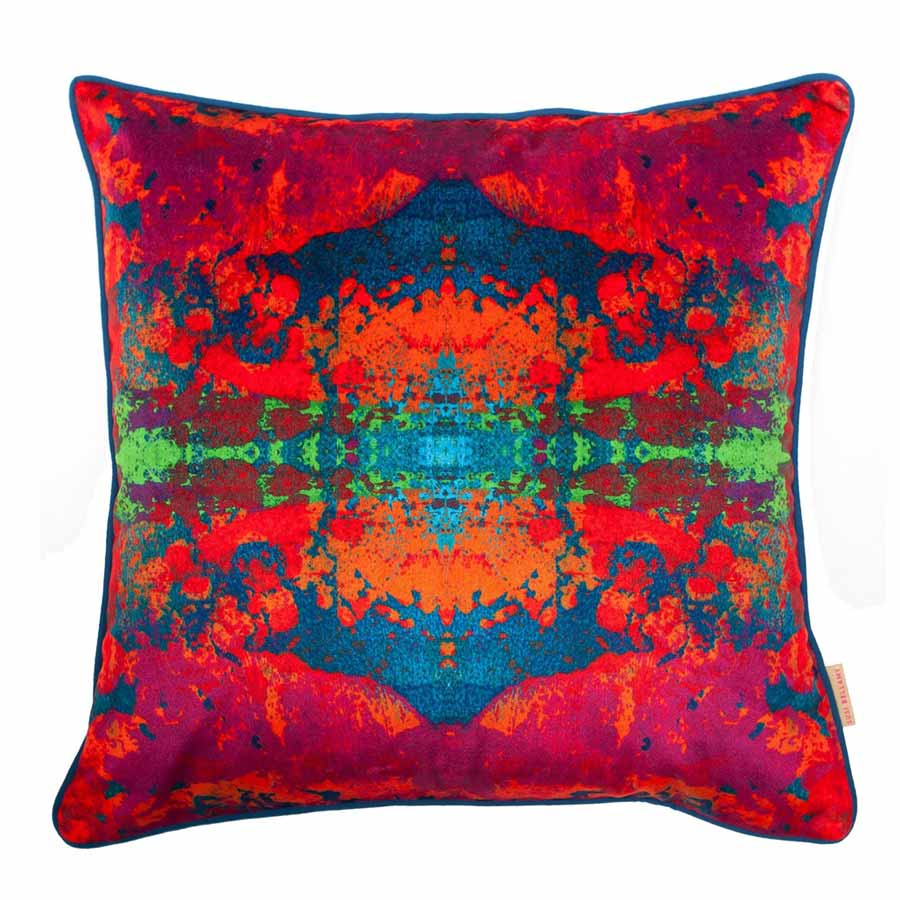 Buy 'Paesaggio Scarlatto Kaleidoscope' an original printed cushion by textile artist Susi Bellamy, at The Biscuit Factory.