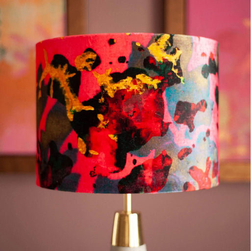 Buy 'Pink Foliage' an original printed lampshade by textile artist Susi Bellamy, at The Biscuit Factory.