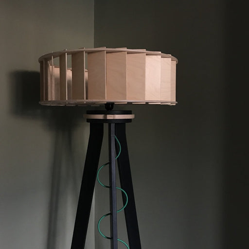 'Filter Lightshade and Stand', a wooden quirky floor lamp with shade and stand by PLYable Design.