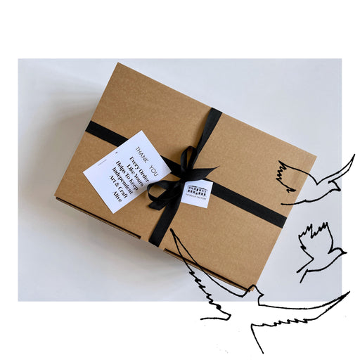 Buy exclusive curated gift boxes at The Biscuit Factory online - sustainable and unique gifts that support local artists. The Peace Maker's Parcel is the perfect present for the wellness advocate.