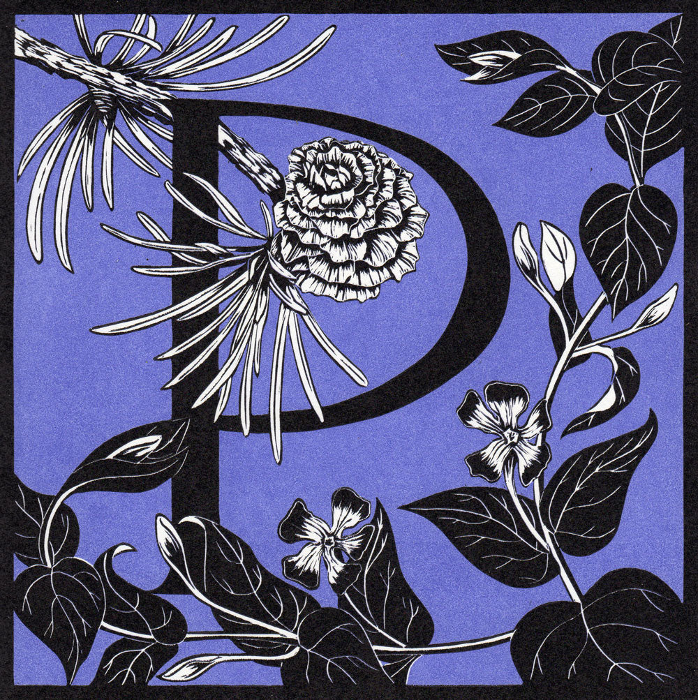 View and buy typography prints by Julie North at The Biscuit Factory. Image shows a royal blue square print featuring a letter P at the centre surrounded by black and white flowers