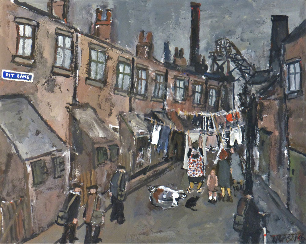 Pit Lane is an original nostalgic painting of a Northern industrial scene by Malcolm Teasdale. Image shows a painting of a narrow street of terrace houses with washing lines stretched out between the houses and industrial machinery in the background.