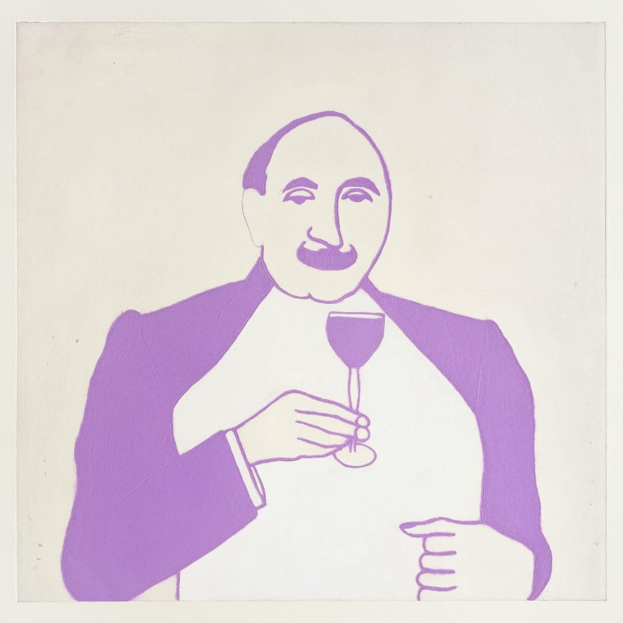 Buy 'Poirot' a large mixed media print by Kate Boxer. Image shows a monochrome print of man with a curved mustache holding a filled wine glass. The print is pink on an off-white background.