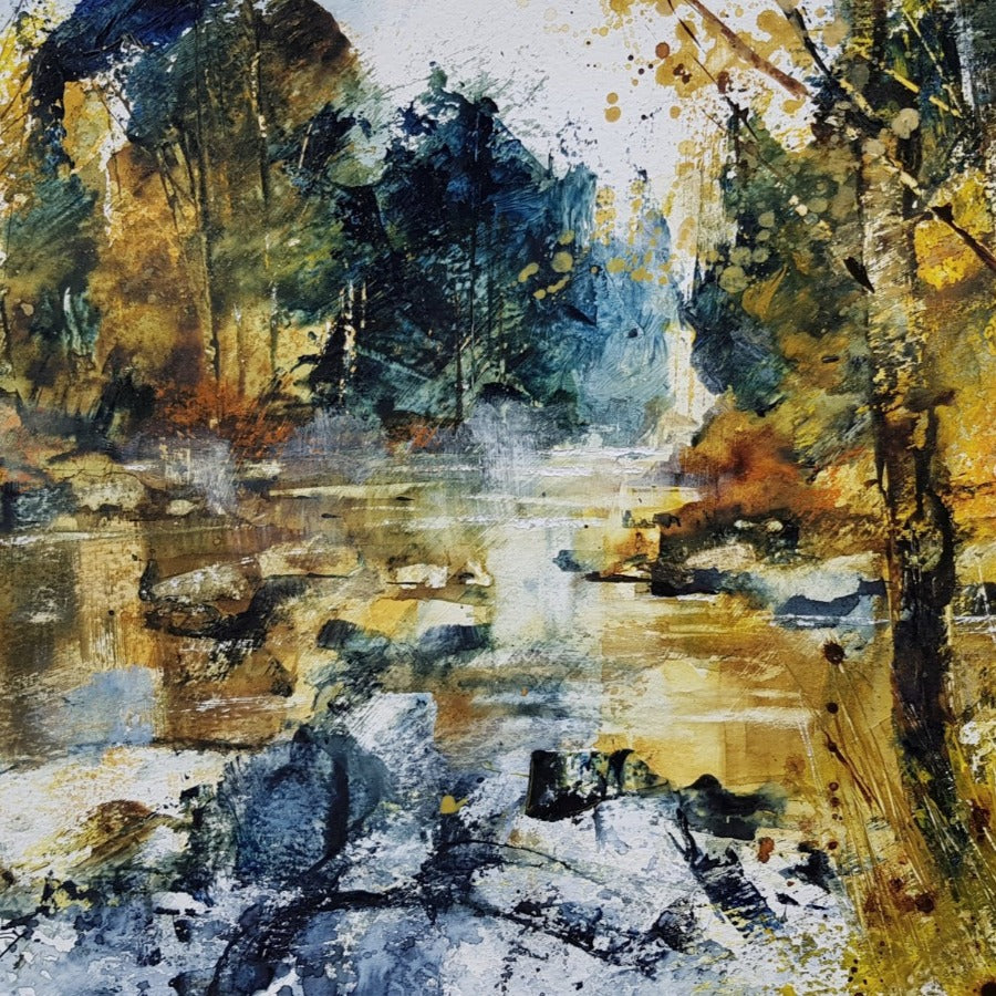 Buy 'Rocks and Riverside Trees', an acrylic landscape by Chris Forsey. Image shows a painting of a river through a wooden area in yellow and navy hues.