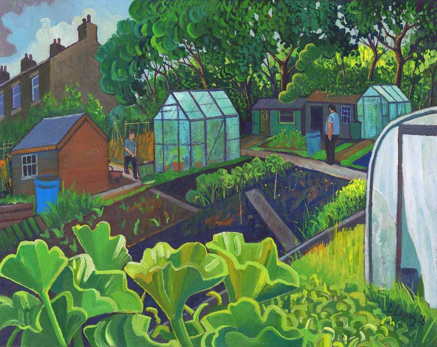 Buy 'Rhubarb patch', an original painting by Chris Cyprus at The Biscuit Factory.