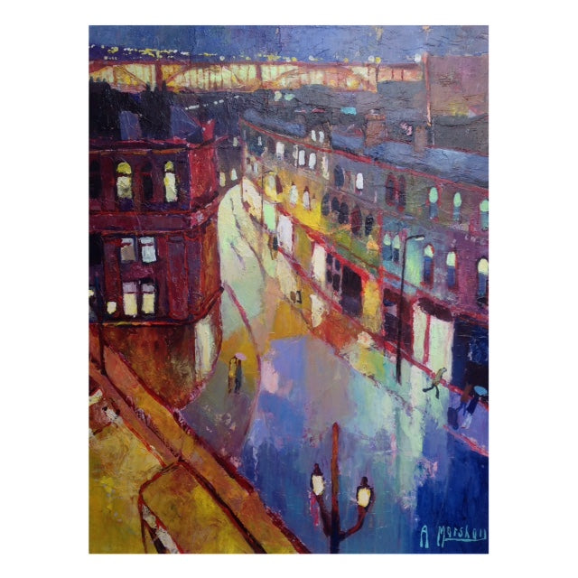 'Side View', a landscape painting by Anthony Marshall. Image shows an abstract cityscape of Newcastle with the high level bridge in the background.