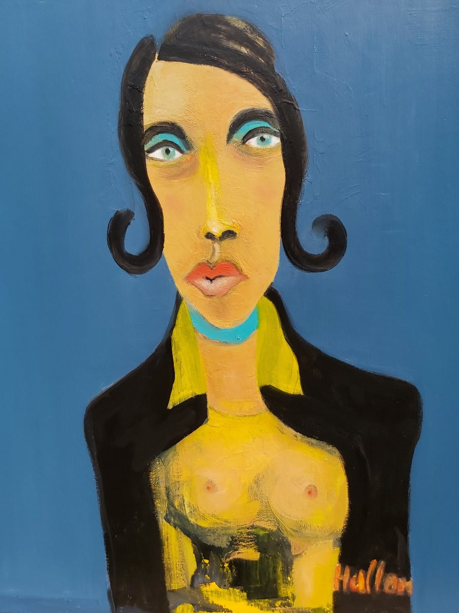 View and buy contemporary artwork online at The Biscuit Factory. 'Miss Mojito', an graphic portrait painting by Peter Hallam. Image shows a vibrant painting of a woman in yellow and black on a blue background