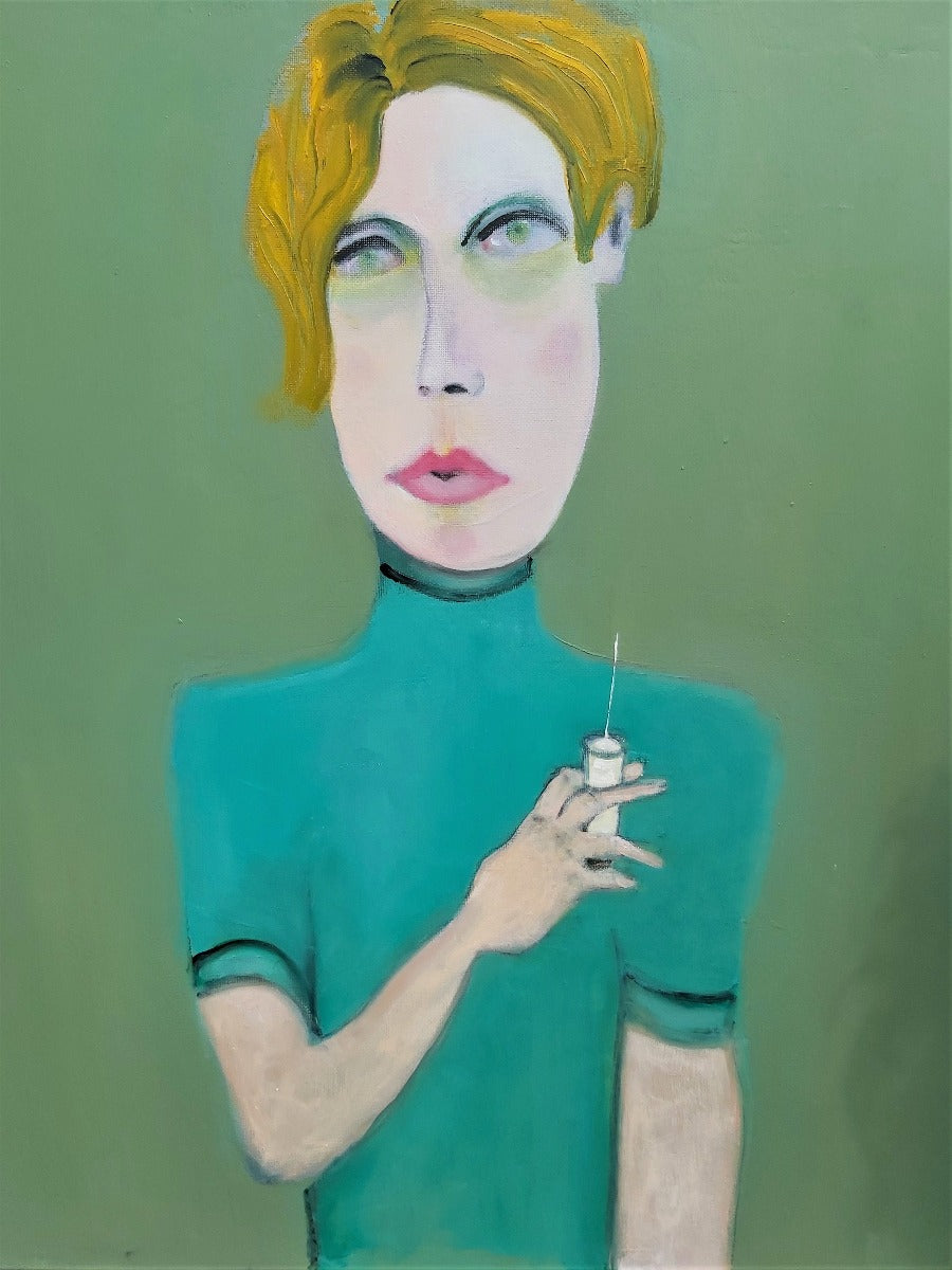 View and buy contemporary artwork online at The Biscuit Factory. 'The Phlebotomist', an graphic portrait painting by Peter Hallam. Image shows a vibrant portrait of a person in green and yellow holding a needle on an olive green background.