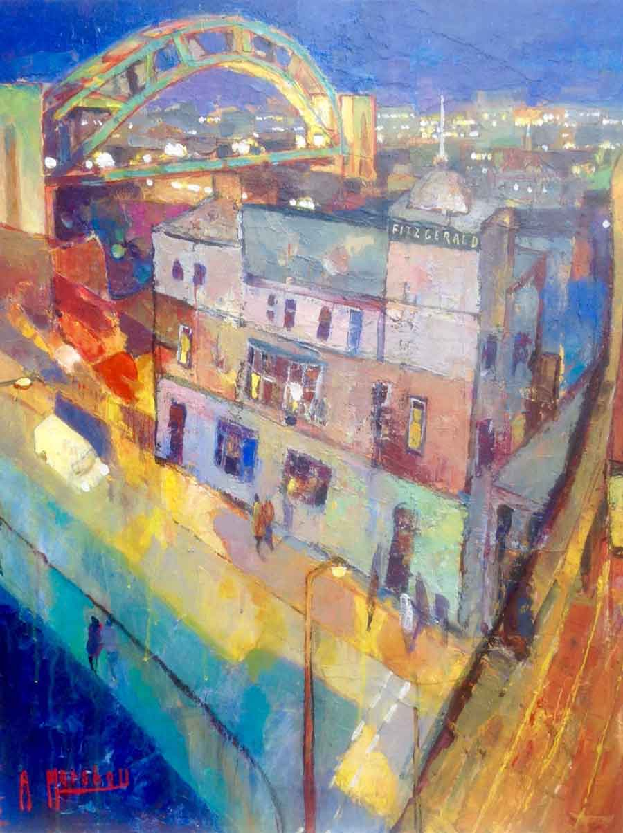 Buy 'Sunset over Bridge Hotel', an original painting by British artist Anthony Marshall at The Biscuit Factory, Newcastle upon Tyne.