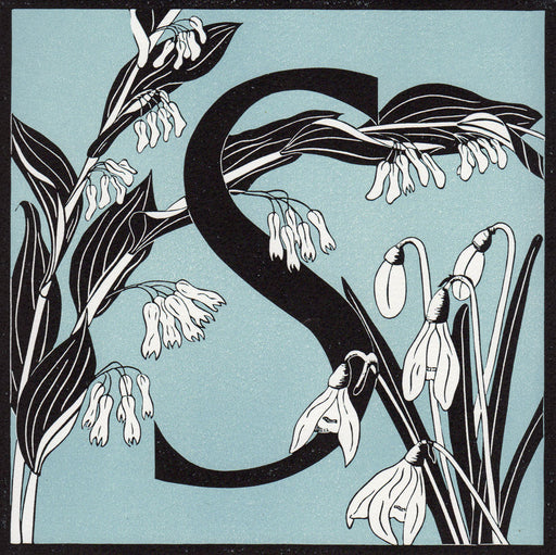 View and buy typography prints by Julie North at The Biscuit Factory. Image shows a light blue square print with a black border featuring the letter S in the centre surrounded by white flowers