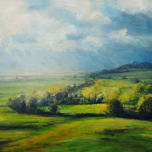 Buy 'Spring Light on the Trees Sutton Bank' an original oil painting by Jim Wright at The Biscuit Factory