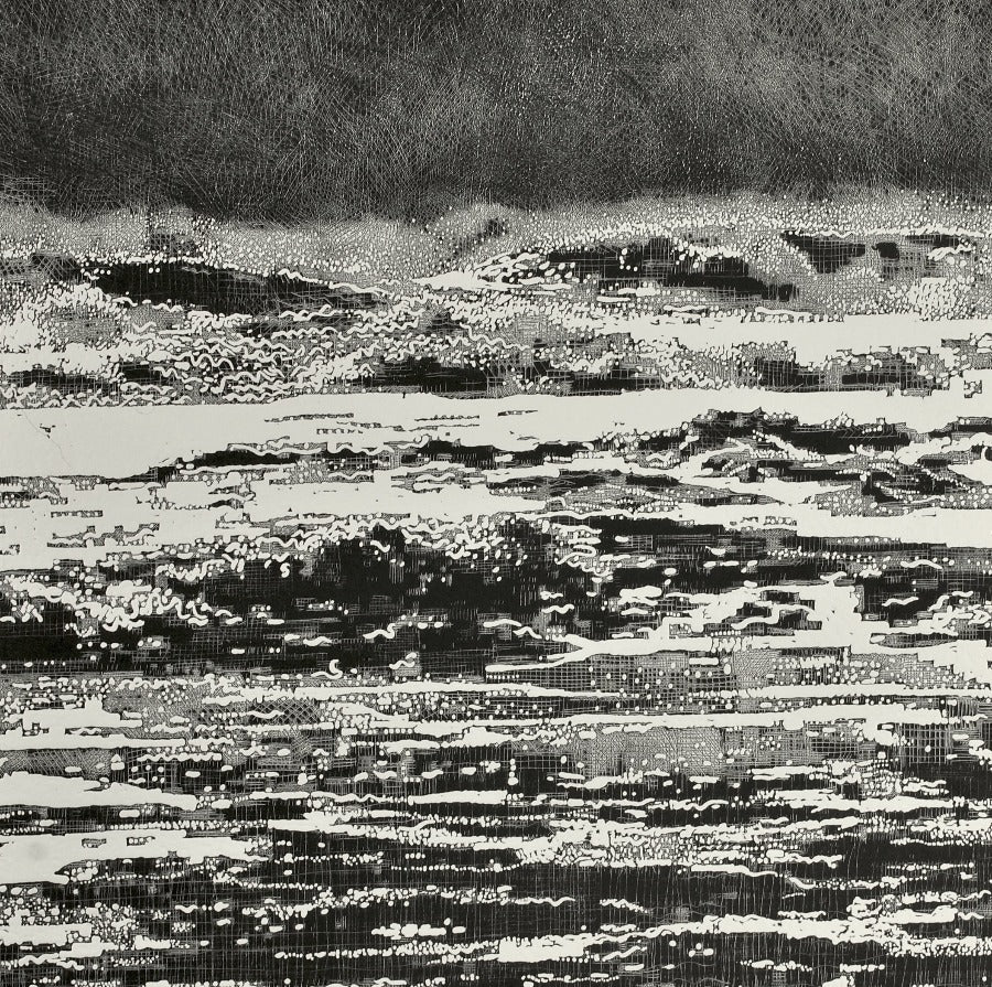 Buy 'Storm Waves II', an original mixed media artwork by Trevor Price. Image shows a square black and white print of abstracted wave crashing in the sea