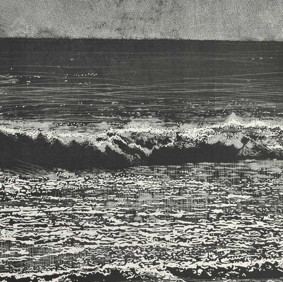 Buy 'Storm Waves V', an original mixed media artwork by Trevor Price. Image shows a square black and white print of abstracted waves breaking into the sea